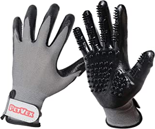 Petvex Pet Grooming Gloves - Deshedding Gloves - For Dogs, Cats, & Horses - Fur Removal and Massaging - Adjustable Wrist Strap