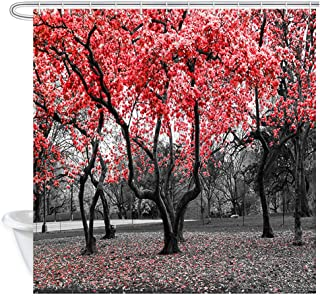 NYMB Nature Trees Landscape Shower Curtain, Red Flower Trees Blossom in Black and White Landscape Mystic Garden Scene Shower Curtain, Farmhouse Woodland Gothic Polyester Fabric Bathroom Curtain 12PCS