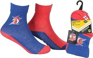 NRL Baby Boys' Roosters Infant Non-Slip Crew Socks 2 Pair