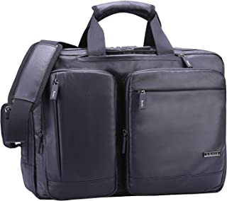 Ronts Black 17.3 Inch Messenger Bag Multifunction Briefcase Convertible Backpack for Men Zipper Waterproof Business Computer Shoulder Handbags Travel Bag