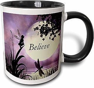 "3dRose Mug_35696_4""Believe, Fairy With Dragonflies With Moon And Purple Sky"" Two Tone Black Mug, 11 Oz, Multicolor"