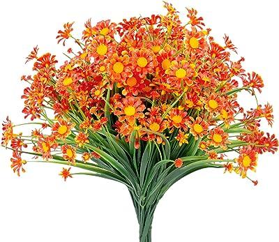 8 Bundles Artificial Daisies Orange Flowers Outdoor UV Resistant, Faux Plants Plastic Autumn Flower for Window Box Hanging Planter Farmhouse Indoor Outside Decor