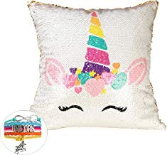 AIFUN Unicorn Mermaid Pillow Cover,Unicorn Magic Reversible Sequins Pillow Case Decorative Throw Cushion Case Unicorn Gifts (Only Pillow Case & Unicorn Bracelet)