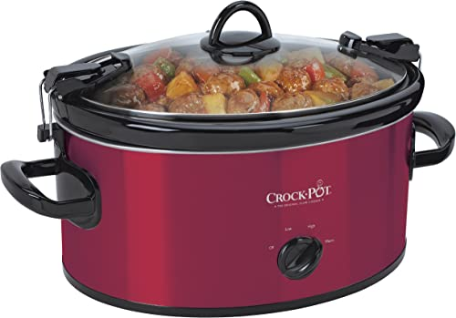 Crock-Pot SCCPVL600-R Cook N Carry 6-Quart Oval Manual Portable Slow Cooker, Red