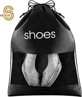 "FABBPRO Shoe Storage Bag Organizer See Through Black Color 6 Pack - 15"" x 10.5"" - Shoes Travel Bags with Drawstring and PVC Window to Identify Shoes - Ideal for Home Guest Room Travel Bag"