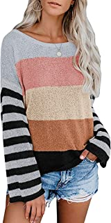 MIROL Women's Fall Rainbow Color Block Striped Off Shoulder Knit Pullover Sweater Loose Fit Tops