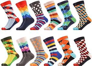 Men Multicolored Pattern Fashionable Fun Crew Cotton Socks Chanwazibibiliu Brave Little Fox Mens Colorful Dress Socks Funky