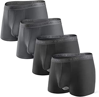 David Archy Men's 4 Pack Underwear Micro Modal Separate Pouches Trunks with Fly