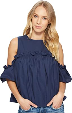 J.O.A. - Cold Shoulder Top with Ruffled Sleeve