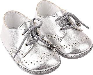 Bağcıklı Deri Bebek Ayakkabısı Gümüş