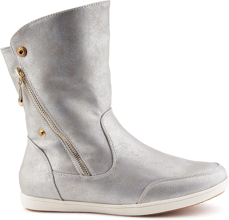 894853 Warm Gefütterte Damen Stiefeletten Schlupfstiefel Boots Trendy