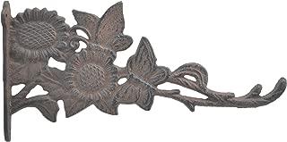 Butterflies & Sunflowers Decorative Cast Iron Plant Hanger Hook 11.125
