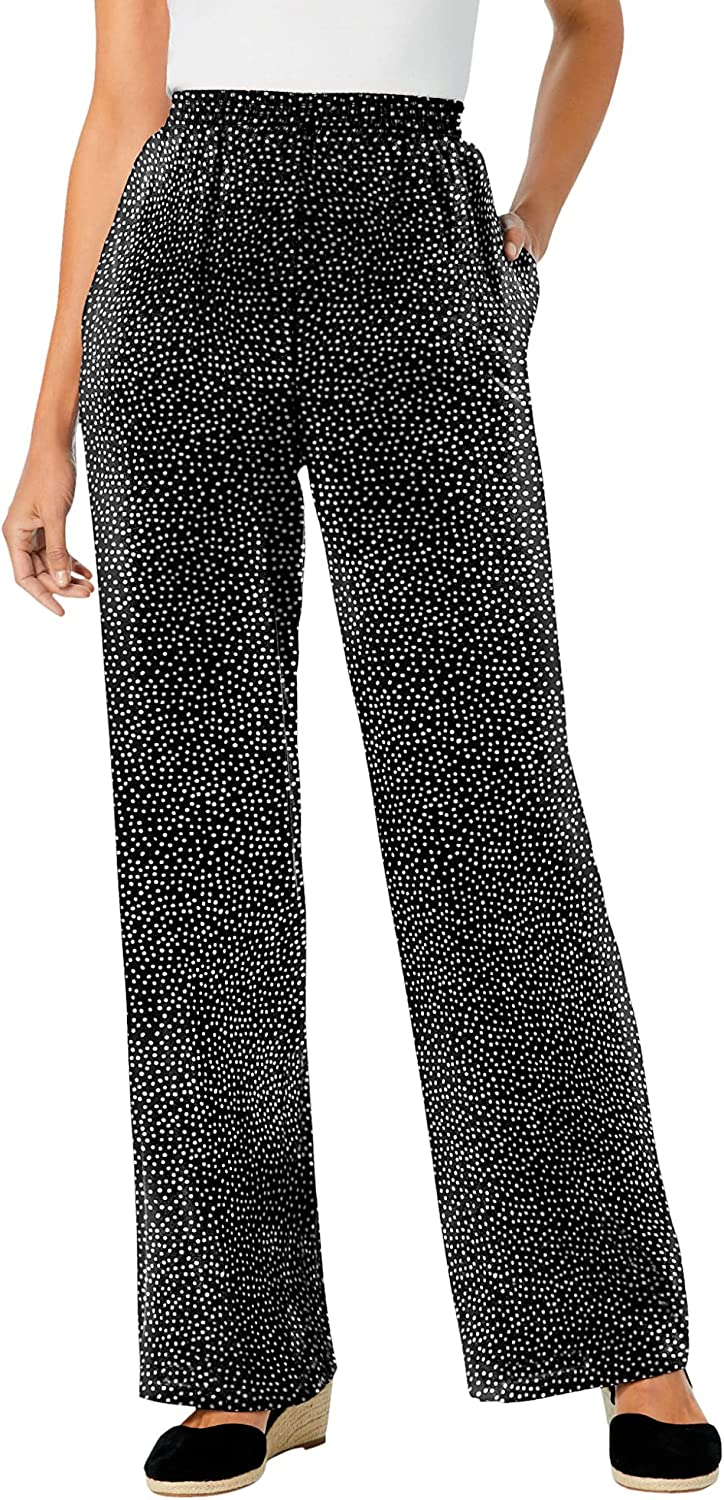 Woman Within Women's Plus Size Petite Pull-On Elastic Waist Soft Pants