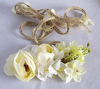 Outflower Guirnalda con Flor Artificial de Tela y Cuerda de C/á/ñamo para Durable Tocado de Flor para Decoraci/ón Novia para Boda Corona de Flores de Moda de Chicas Festival Fiesta