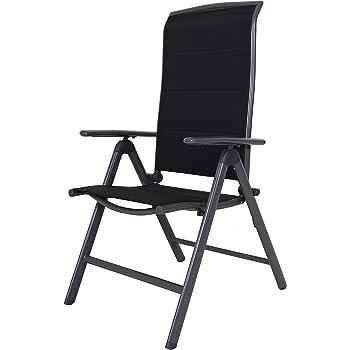 Chicreat, sedia pieghevole con schienale alto, imbottita, colore neroargento, alluminio