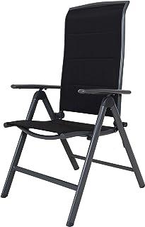 comprar comparacion Chicreat - Silla plegable de aluminio tapizada y con respaldo alto (negro y gris)
