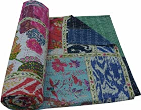 V Vedant Designs Indian Cotton Kantha Quilt Throw Blanket Bedspread Vintage Throw Gudari Cotton Handmade Kantha Quilt (Mix...