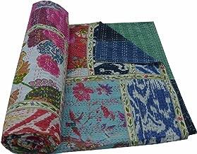 V Vedant Designs Indian Cotton Kantha Quilt Throw Blanket Bedspread Vintage Throw Gudari Cotton Handmade Kantha Quilt (Mix Patch)