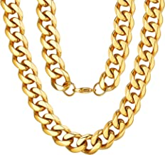 ChainsPro 3MM/6MM/9MM/12MM Curb Cuban Link Chain Jewelry,14/18/22/24/26/28/30 inch, 316L Stainless Steel/Gold Plated (Send Gift Box)