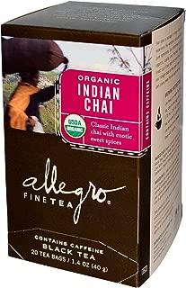 Allegro Fine Tea, Organic, Black Tea, Indian Chai, 20 Tea Bags, 1.4 oz