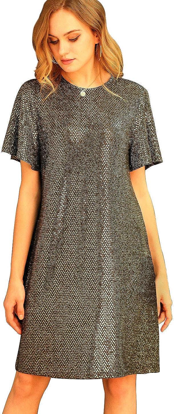 Allegra K Women's Sequin Sparkle Glitter Flutter Sleeve Club Party Night Out Little Black Dress