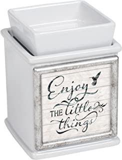 Elanze Designs Enjoy The Little Things Ceramic Slate Grey Interchangeable Photo Frame Candle Wax Oil Warmer