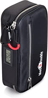 MedBuddy - Insulated Premium Medical Case for EpiPen®, Inhaler, First Aid Kit, Diabetes, and More. Includes: Electronic Temperature LCD, Belt, Mini-Case, and Medical ID (Black)
