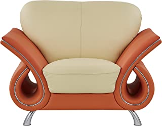 Global Furniture Clark Collection Leather Matching Chair, Beige/Orange