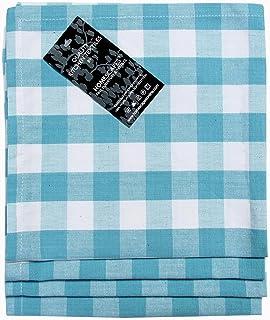 43x43 cm, Serviettes Blanc et Bleu VEEYOO Serviettes en Tissu de Polyester Ensemble de 12 pi/èces Plaid Buffalo Serviettes Lavable Serviettes de Table /à Carreaux Vichy