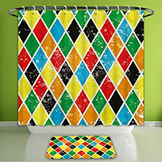 Waterproof Shower Curtain and Bath Rug Set Abstract Decor Harlequin Vintage Background with Grunge Diamond Shaped Geometri Bath Curtain and Doormat Suit for Bathroom Extra Long Size 72