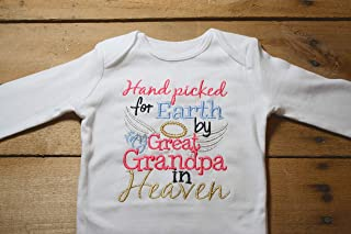 956ee6e0 Embroidered Bodysuit Handpicked for Earth by my Great Grandpa in Heaven Baby  Shower Gift Pink Hand