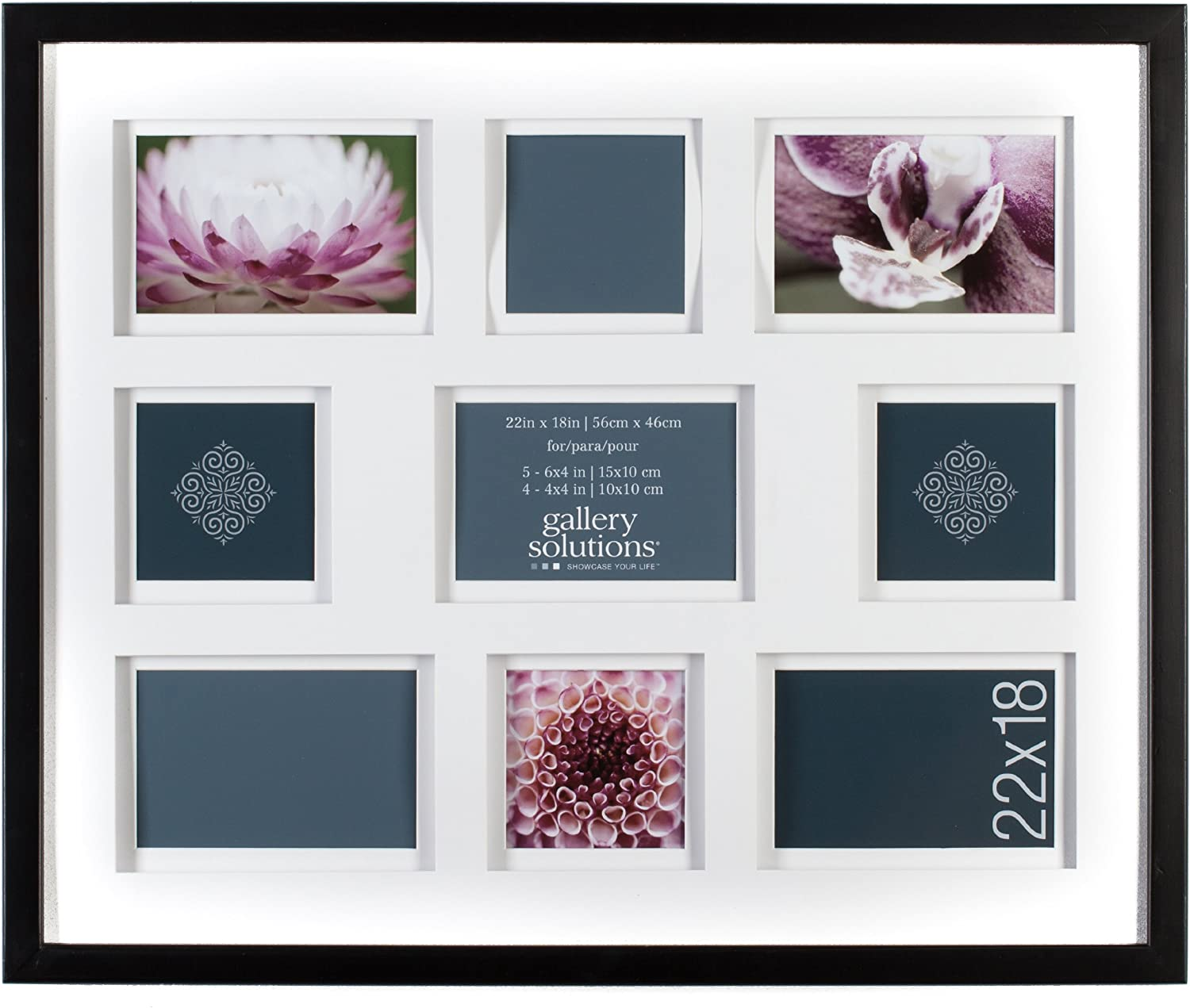 Gallery Solutions Black Airfloat Collage Frame with 9 Openings