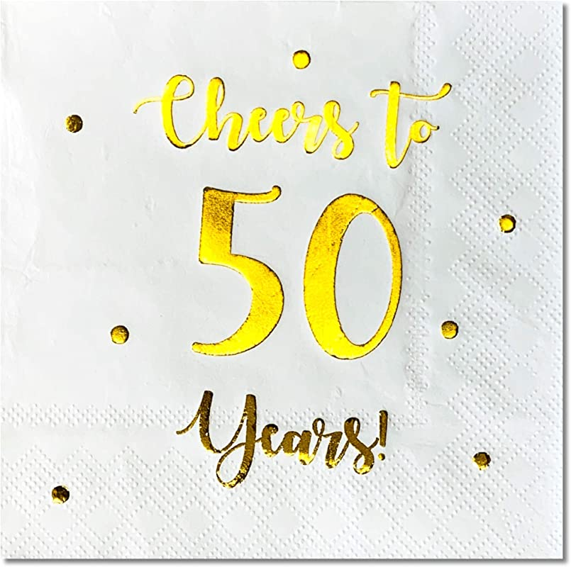 Cheers To 50 Years Cocktail Napkins Happy 50th Birthday Decorations For Men And Women And Wedding Anniversary Party Decorations 50 Pack 3 Ply Napkins 5 X 5 Inch Folded White