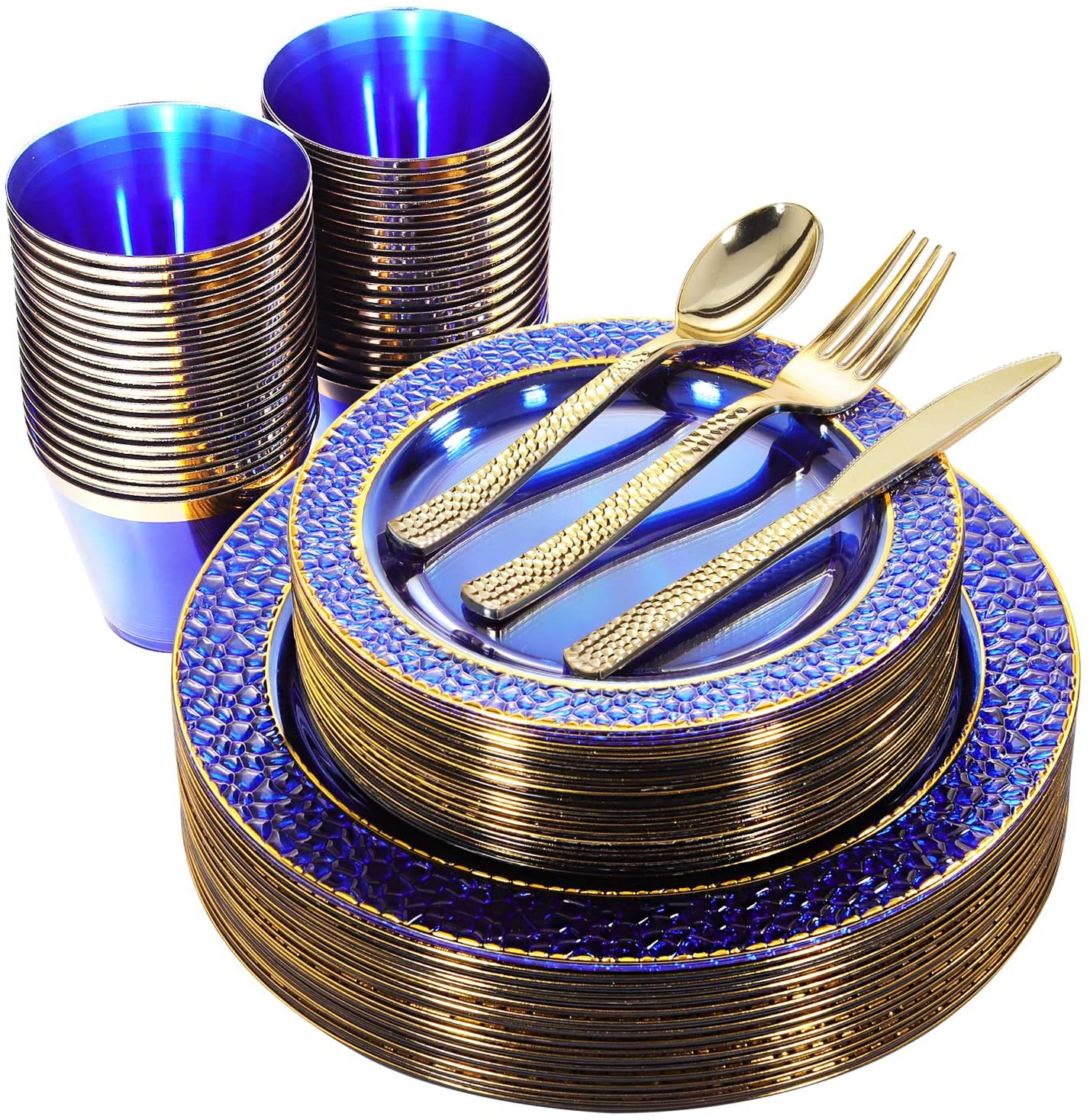 Nervure 150PCS Clear Blue Plastic Plates & Gold Plastic Silverware - Disposable Gold Plastic Plates Include 25Dinner Plates, 25Dessert Plates, 25Cups, 25Forks, 25Knives, 25Spoons for Party : Everything Else