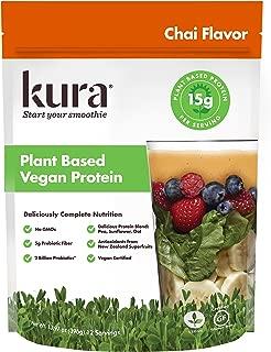 Kura Plant Based Vegan Protein Powder, Chai, New Zealand Born, 13.96oz