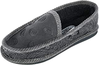 Trooper America Men's Monotone Paisley Bandana Print House Shoe Slippers