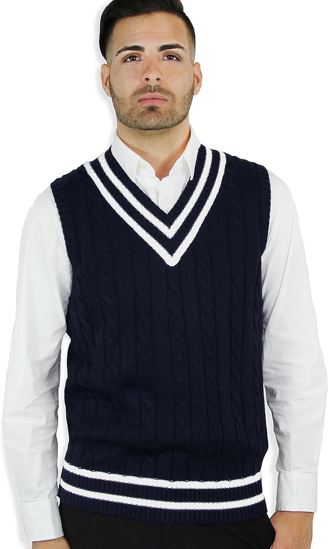1920s Style Mens Vests Blue Ocean Cable Sweater Vest $27.00 AT vintagedancer.com