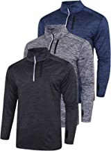 3 Pack Men's Long Sleeve Active Quarter Zip Quick Dry Pullover | Athletic Running Cycling Gym Top Shirts Bulk Bundle