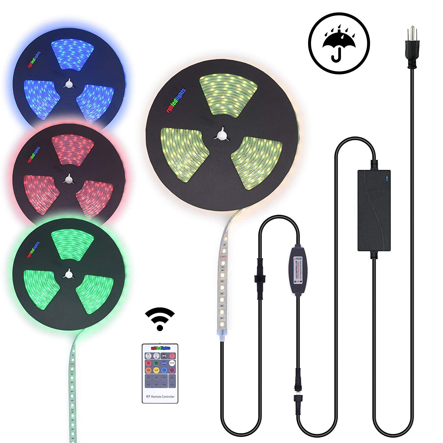 70Ft Long Run 24V RGB LED Strip Light Bar Silicone Encased Waterproof Outdoor Patio Deck Railing String Rope Light Plug & Play Kit with RF Controller and Power