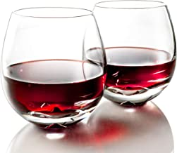 MOFADO Crystal Stemless Wine Glasses - Classic Elegance - Hand Blown Crystal - 15oz (Set of 2) - For Red and White Wine - ...
