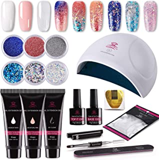 Makartt P-09 Gorgeous Glitter Poly Nail Gel Kit with Extension Gel, 6pcs Beautiful Glitter Powders, 24w Fast Nail Dryer All-In-One Mixed Nail Enhancement Starter Gel Builder Nail Technician Set
