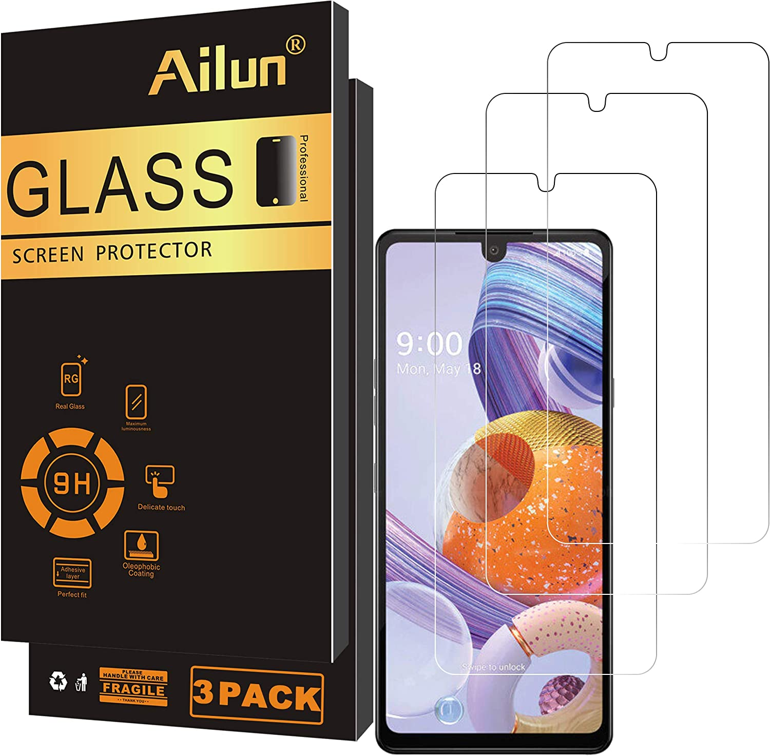 Ailun Screen Protector Compatible for LG stylo 6 3Pack 0.33mm 2.5D Edge Tempered Glass,Anti-Scratch,Case Friendly