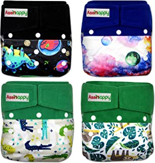 Sponsored Ad - Asenappy Cloth Diaper 4 Pack Diaper Cover with Inserts