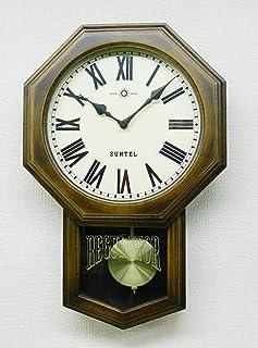 さんてる 掛け時計 ブラウン 400×260×70mm スタンダード 電波振り子時計(8角) ローマ数字 SR07-R