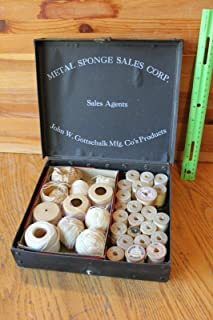 Metal Sponge Sales Corp Box for salesman samples & For Vintage wooden thread spools