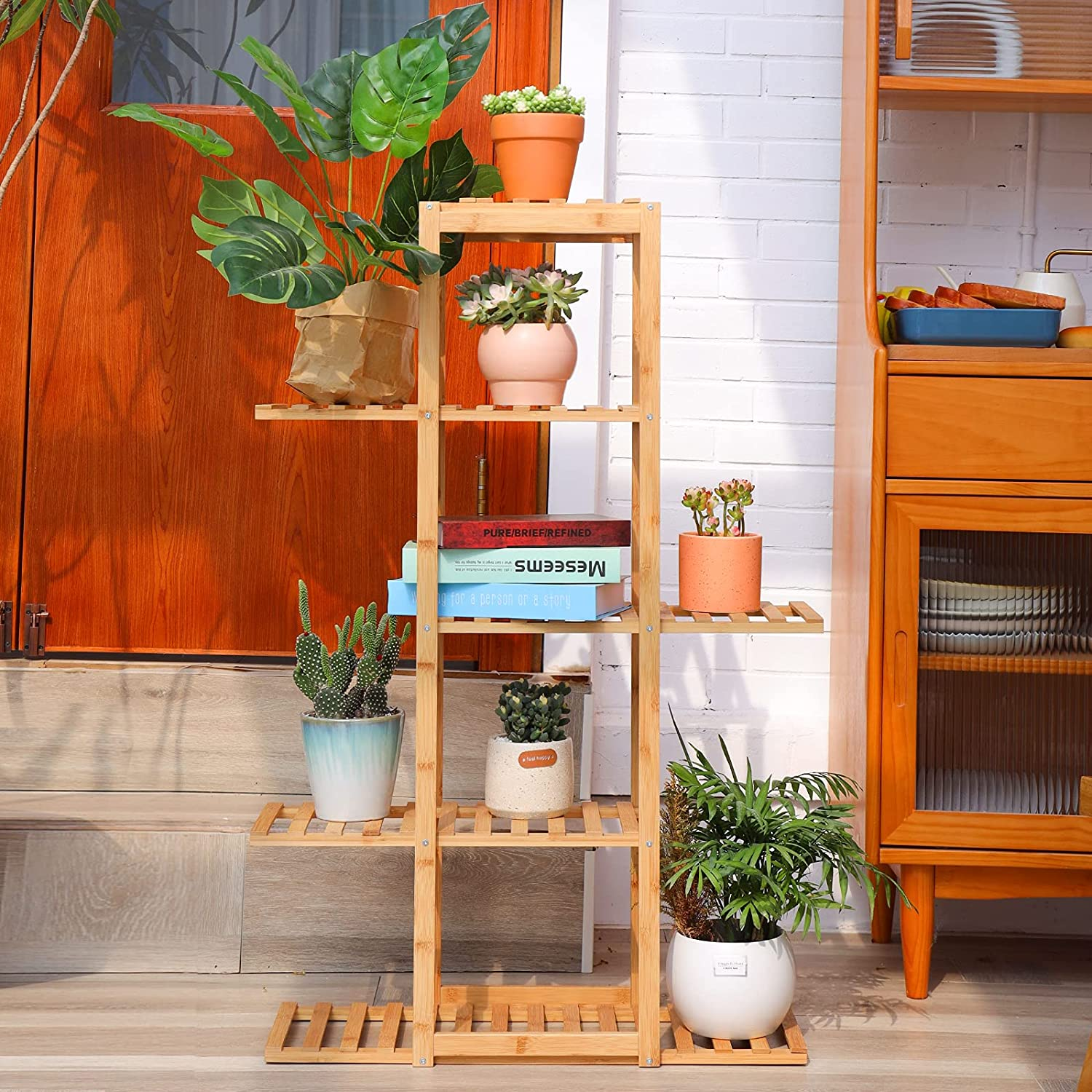 BLUU Kansas City Mall Bamboo Plant Stand 6 Tier Multiple Outlet SALE 12 Indoor Outdoor Potted