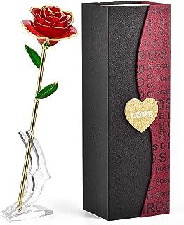 FORGIFTING 薔薇 花 プレゼント 彼女 女性 妻 母 人気、母の日ギフト、誕生日プレゼント、結婚記念日 プレゼント、 ホワイトデー お返し、結婚祝い「保存された樹脂、金メッキローズ」(永遠の赤バラ+透明スタンド)