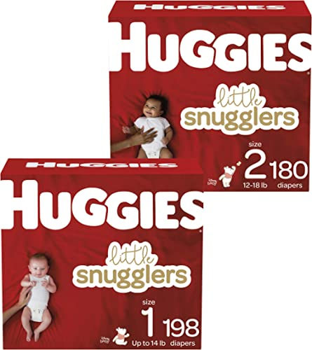 Huggies Little Snugglers Baby Diapers, Size 1, 198 Ct, One Month Supply & Huggies Little Snugglers Baby Diapers, Size...