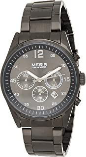 Megir Mens Quartz Watch, Chronograph Display and Stainless Steel Strap - 2010