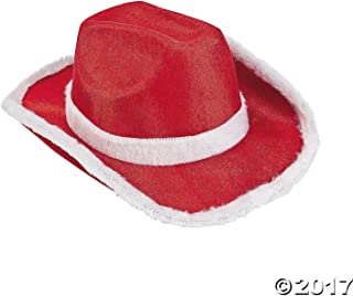 Fun Express Santa Claus Cowboy Hat Christmas Elf Costume Accessory - Red with White Fur Trim - 1 Piece